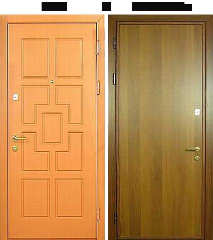 стальная дверь с ламинатом и натуральным шпоном