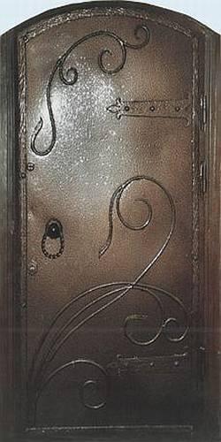 стальная дверь с элементами кованного металла