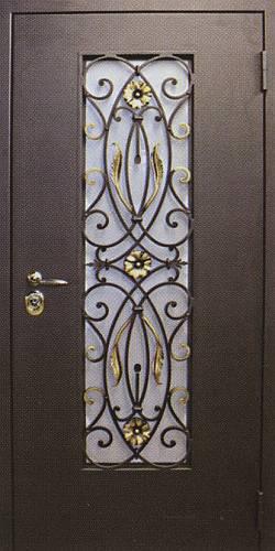 металлические двери со стеклом с элементами ковки