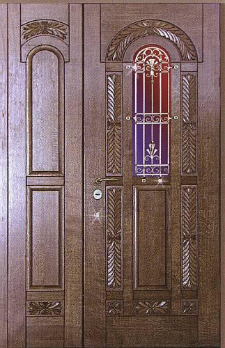 каталог железных дверей в дом со стеклом